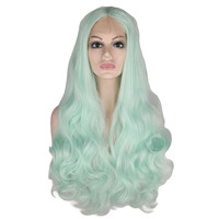 QQXCAIW Handmade Hairline Glueless Lace Front Wig For Women White Green Pink Body Wave Heat Resistant Fiber Synthetic Hair Wigs