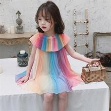 Children Girl Dress Rainbow Color Pleated Princess Dress rainbow color maxi pleated dress page 1