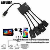 Multi-function USB 2.0 4 in 1 Micro USB Host OTG Charge Hub Cord Adapter Splitter for Android Smartphones Tablet Black Cable