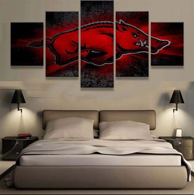 5 Pieces Arkansas Razorbacks Sports Team Logo Modern Home Wall Decor Canvas Picture Art Hd Print
