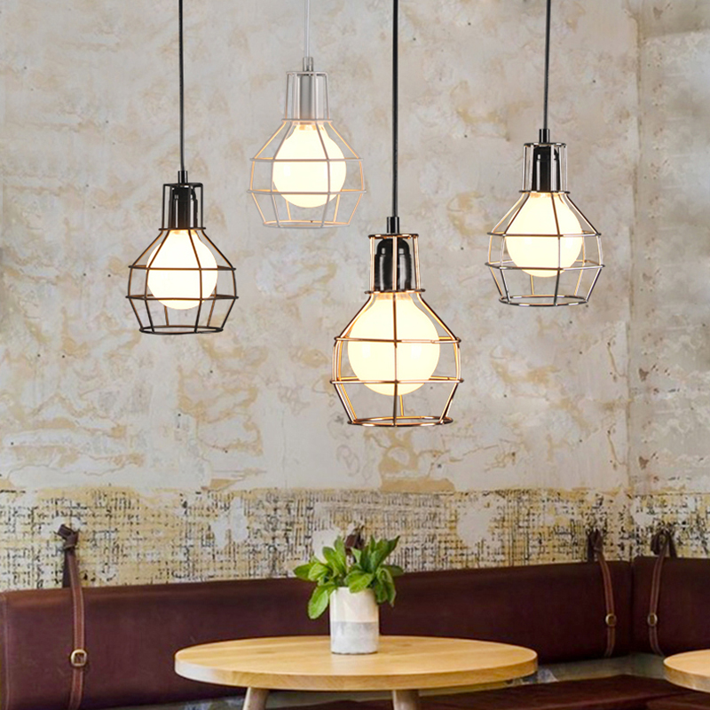 4 color Loft warehouse style retro Industrial iron cage pendant lamps cord lights fixture led E27 for dining room bedroom bar iron cage loft style creative led pendant lights fixtures vintage industrial lighting for dining room suspension luminaire
