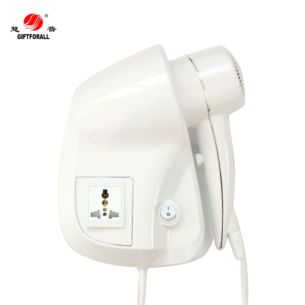 GIFTFORALL five star hotel wall mounted hair dyrer with universal adaptor socket  D139-H giftforall hair dryer hotel bathroom home professional hair salon powerful wall mounted portable mini hairdryer d139 d