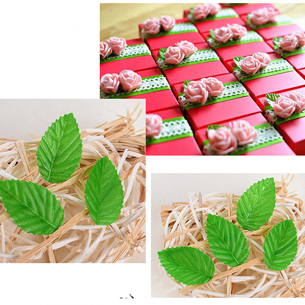 Fake flowers for crafts - 200pcs Artificial Flower Green Christmas Leaves For Wedding Decoration Garland Rose Leaf Foliage Decorative Craft Fake