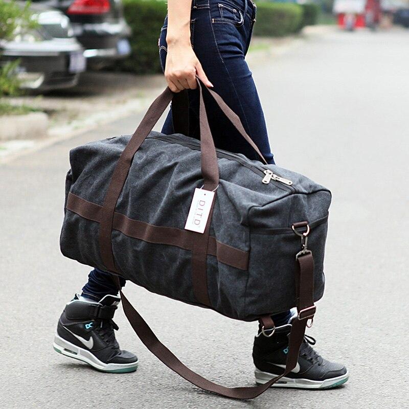 ใหม่ผ้าใบผู้ชายกระเป๋าเดินทางขนาดใหญ่ผู้หญิงกระเป๋าเดินทาง Duffle กระเป๋าวันหยุดสุดสัปดาห์กระเป๋า Multifunctional Reistas ไหล่กระเป๋า-ใน กระเป๋าเดินทาง จาก สัมภาระและกระเป๋า บน AliExpress - 11.11_สิบเอ็ด สิบเอ็ดวันคนโสด 1