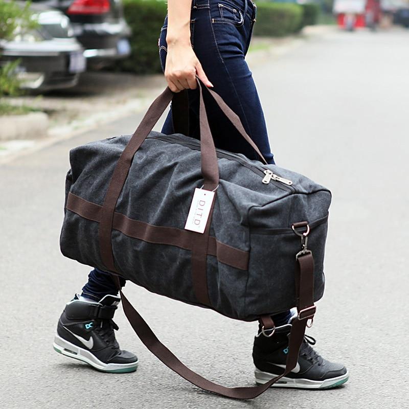 купить New Canvas Men Travel Bag Large Capacity Women Hand Luggage Travel Duffle Bag Weekend Bags Multifunctional Reistas Shoulder Bag недорого