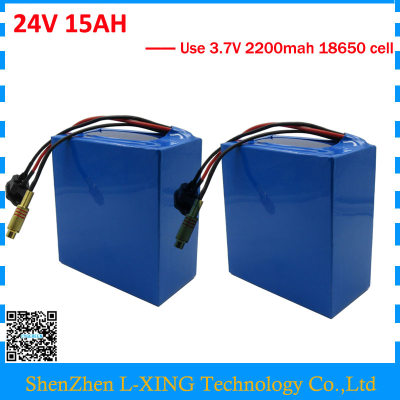 Wholesale 2pcs/lot 350W 24V 15AH battery 24 V 7S electric bike battery 15AH with 2A Charger Free shipping and customs fee 2 pieces of battery free shipping wholesale 100