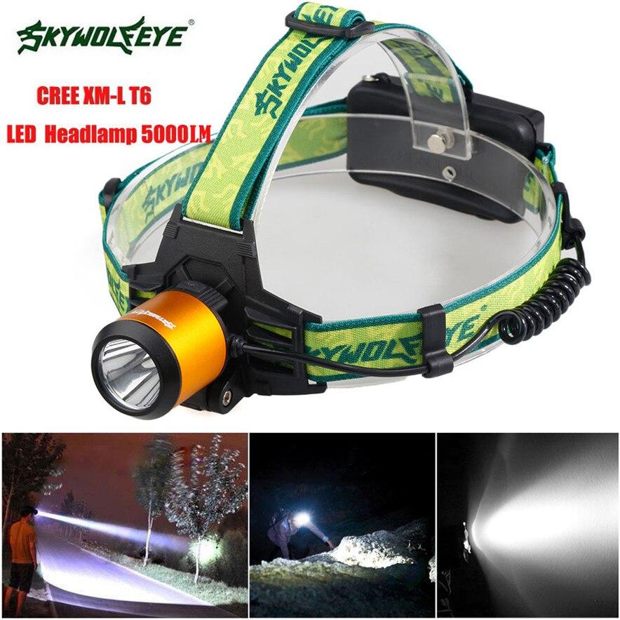 skywolfeye 5000LM CREE XM-L T6 LED Headlamp Headlight Flashlight 18650 l7117 fishing DROP SHIP