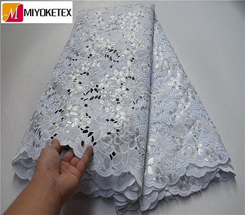 New Arrival High Quality White French Lace Fabric Organza Cord Lace Fabrics With Sequins For Bride Engagement Wedding PSA518-1