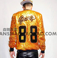 S-5XL ! 2015 Men's new slim DJDS male singer TEAYANG Color laser gold sequins Baseball Jacket Costume costumes clothing