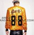 S-5XL! 2015 de Los Hombres nuevo slim DJDS cantante masculino TEAYANG láser a Color oro lentejuelas Chaqueta de Béisbol Traje trajes ropa