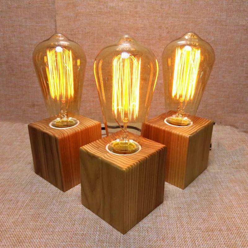 Wooden table lamp vintage desk lamp 40w edison bulb 110v for Vintage wooden table lamps