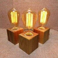 Wooden Table Lamp Vintage Desk Lamp 40W Edison Bulb 110v 220V Bedroom Night Light Table Light Desk Light Coffee Bar