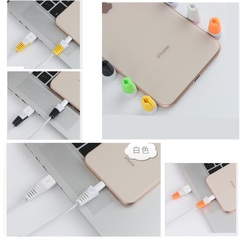 Fashion Solid Color Plain Cable Protector For iPhone Case Cover Cable Protector For iPhone Cable USB Charging Winder Cable