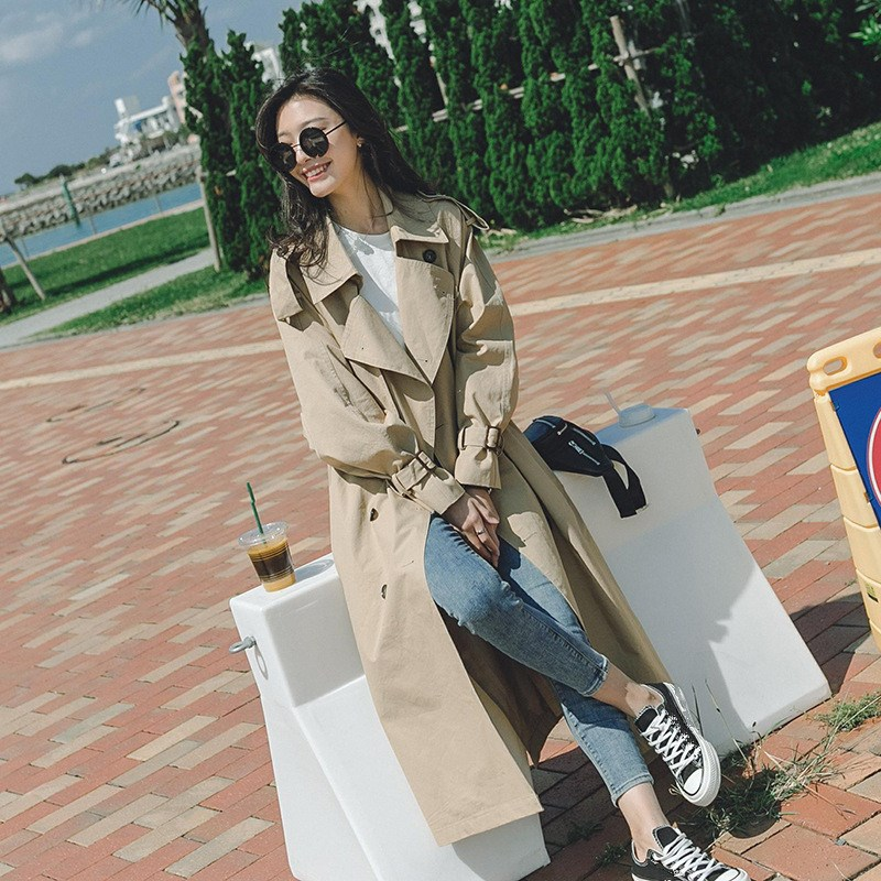2018 New Korean Notched Collar   Trench   Coat Casual Long Sleeve Belt Long Windbreaker Loose Thin Large Size Outerwear