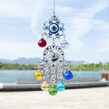 H&D Chakra Energy Crystal Balls Suncatcher Hamsa Hand of Fatima Turkish Blue Evil Eye For Home Garden Hanging Decor Lucky Gift