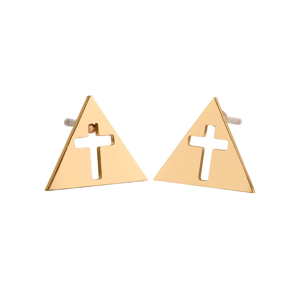 Chereda Punk Stainless Steel Earrings Female Gold Color Hollow Cross Stud Earrings for Women Geometric Earrings Jewelry in Stud Earrings from Jewelry Accessories