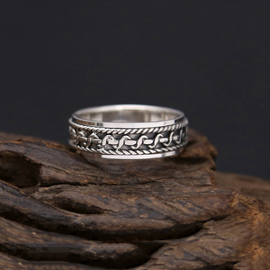 Image 5 - Vintage Black Ring 100% Real 925 Sterling Silver For Men and Women Spinning Thailand silver Joint Ring Jewelry FR5