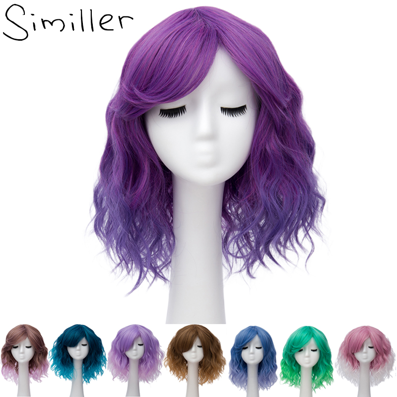 Similler Pixie Cut Synthetic Wigs With Bangs For Women Wig Short Water Wavy Hair Heat Resistant Pink Purple Ombre Two Tones
