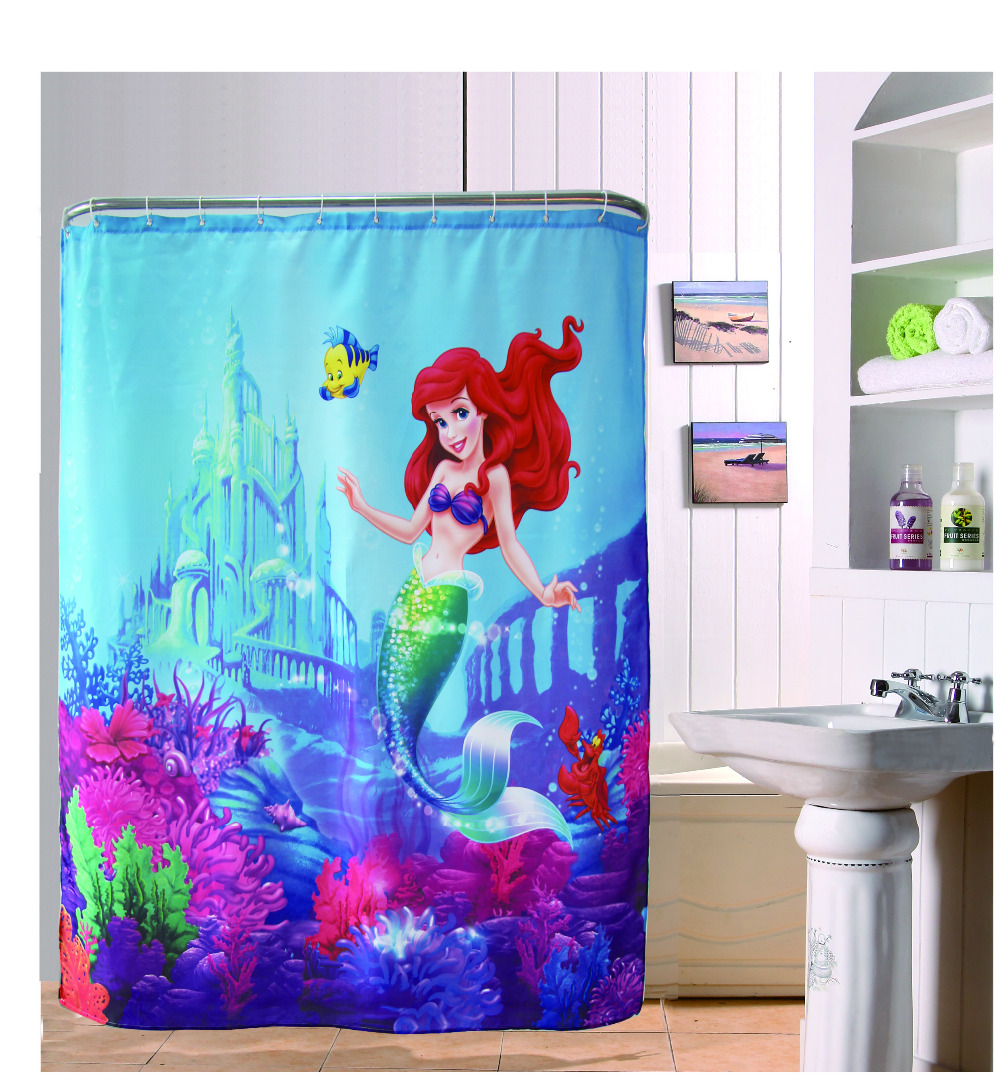 Attractive The Little Mermaid Beautiful Bathroom Shower Curtain 180x180cm Bath Curtain  Waterproof Polyester Bathroom Curtain(China