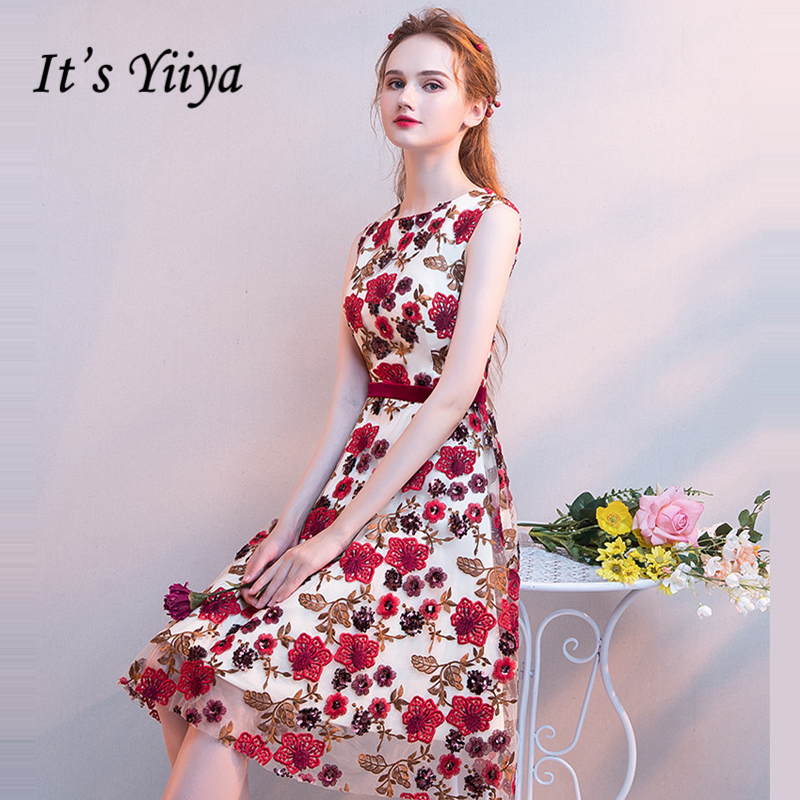 It's YiiYa   Cocktail     Dress   2018 Sleeveless Embroidery Party Floral Prints Fashion Designer Elegant Short   Cocktail   Gowns LX1080