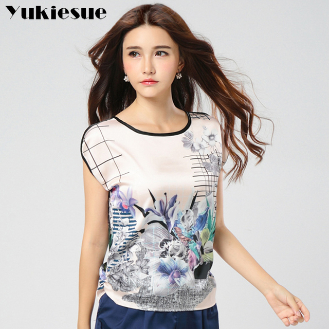 2018 Summer women tops and blouses  shirts casual chiffon silk blouse shirt short sleeve blusa feminina solid Plus size M-5XL