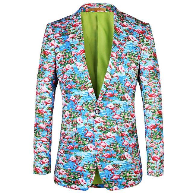 Casual men suit jacket blazer 2019 New brand blazer Flamingo pattern printing design blazers flowers Mens Plus Size Jacket