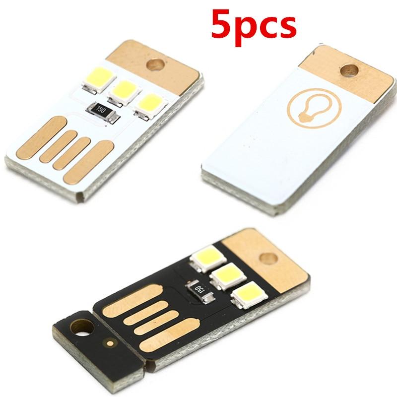 5pcs/lot Mini Pocket Card USB Power LED Keychain Night Light 0.2W USB LED Bulb Book Light For Laptop PC Powerbank Night Lamp