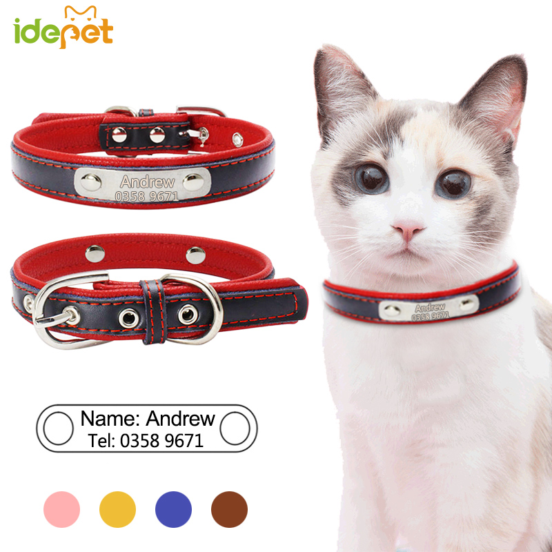 ee1b6c096f1d Personalized Cat Collars Engraved Name for Safe Cat Puppies Leather Collars Pet  Supplies Adjustable for Kitten Pet Collars 11b3-in Cat Collars & Leads from  ...