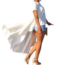 Seksowna biała z krótkim rękawem bluzka kobiety lato 2019 elegancka bluzka długa koszulka bluzki damska bluzka Blusas Femininas tanie tanio Poliester Elastan REGULAR Na co dzień Suknem Ruffles Stałe O-neck Doyerl Spring Autumn Winter summer Women Lady Miss Ladies Female Girls