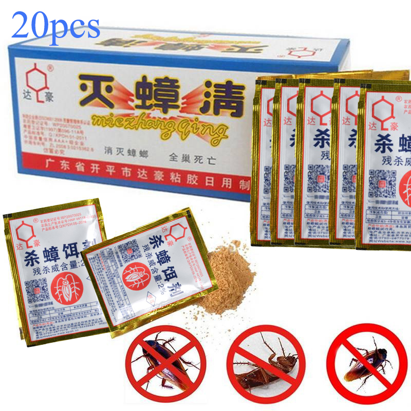 20pcs Effective Killing Cockroach Bait Powder Cockroach Repeller Insect Roach Killer Anti Pest Reject Trap Pest Control