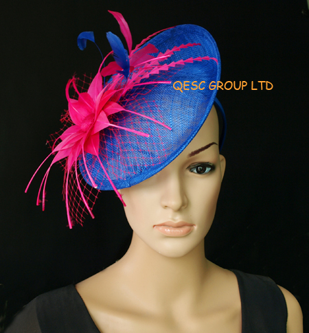 0471f444526 NEW Wholesale Elegant ROYAL BLUE Sinamay fascinator hat with feather flower  for kentucky derby wedding party.FREE SHIPPING