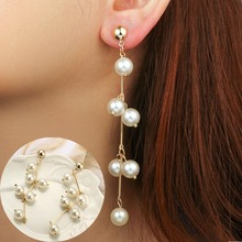 Fashion Pearl Long Drop Earrings For Women Golden Earring Feminie Elegant Tassel