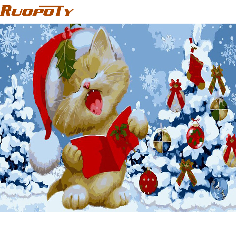 RUOPOTY diy frame Cartoon Christmas Painting By Numbers Kits Acrylic Picture Paint On Canvas Wall Art Unique Gift For Child