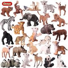 Oenux Echt Zoo Dieren Model Simulatie Mini Wilde Panda Tijgers Leeuwen Giraffe Beeldjes Pvc Action Figure Speelgoed Voor Kinderen