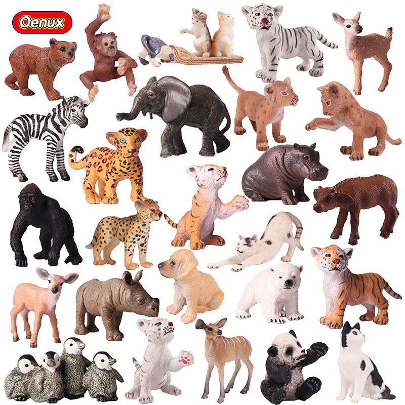 Oenux Genuine Zoo Animals Model Simulation Mini Wild Panda Tigers Lions Giraffe Animal Figurines PVC Action Figure Toy For Kids