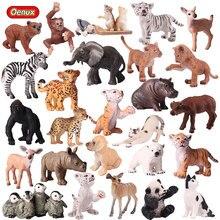 Oenux modelo de animales del Zoo para niños, figuras de acción de PVC de animales salvajes, Mini Panda, tigres, leones, jirafa