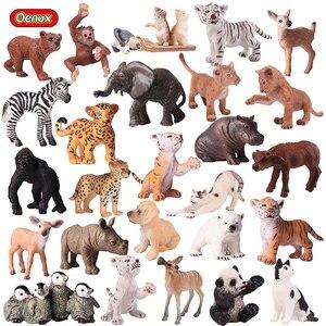 Image 1 - Oenux אמיתי גן חיות בעלי חיים דגם סימולציה מיני פראי פנדה נמרים אריות ג ירפה בעלי החיים פסלוני PVC פעולה איור צעצוע לילדים