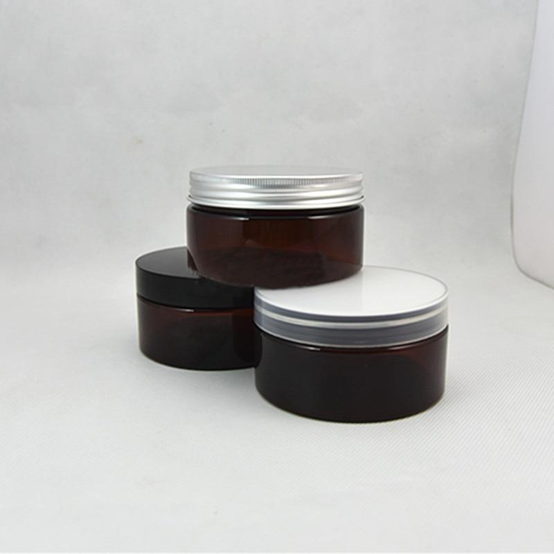 free shipping 10/30/50pcs/lot 200ml PET brown jar,white / transparent / black plastic cap.