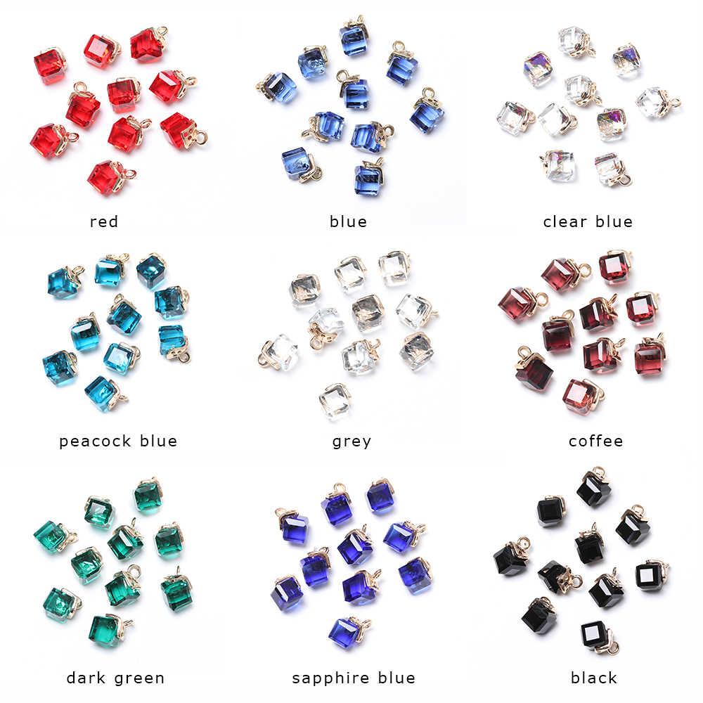 10 sztuk biżuteria Cube szkło luźne koraliki 14 kolorów kwadratowe 2mm otwór kryształki austriackie dla bransoletka DIY Making Tools