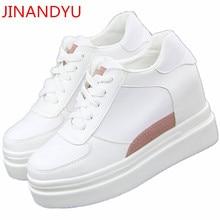 White Women Platform Sneakers Hidden Wedge 8 CM Heels Ladies Shoes Calzado Mujer Tenis Casual Shoes Women Chaussures Femme