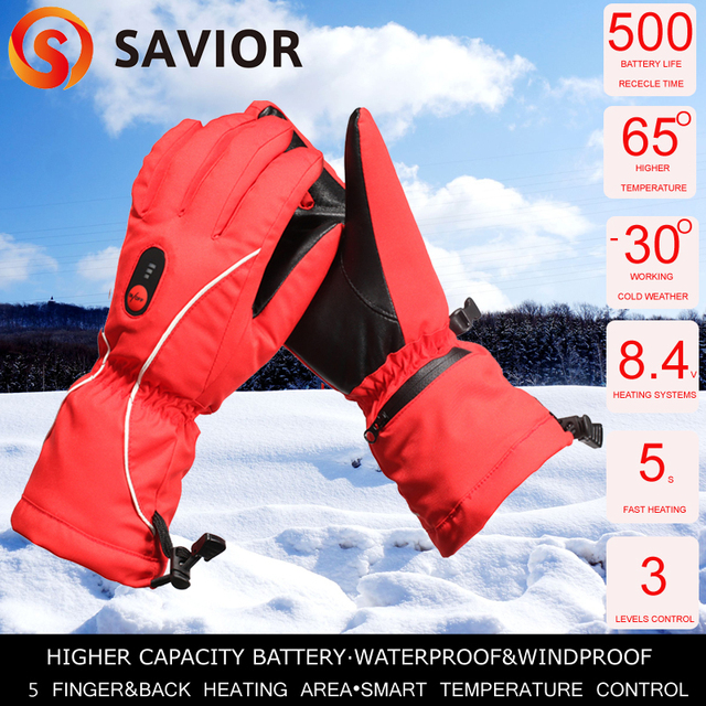 Savior women's Heated GLove winter outdoor sporting skiing riding 5 finger back heating waterproof windproof 65c red SHGS08R