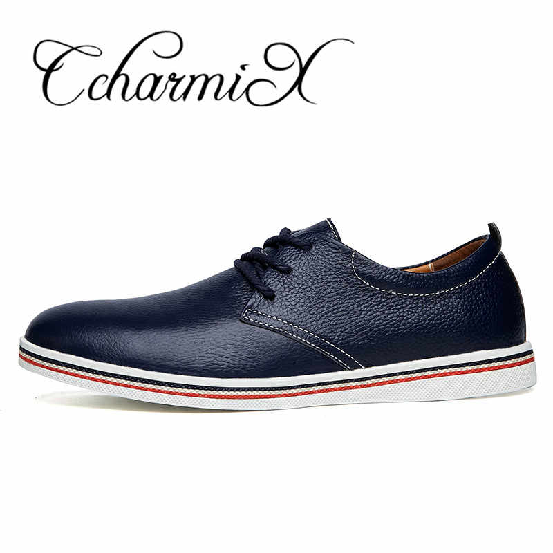CcharmiX Genuine Leather Mens Dress Shoes Top Quality Pointed Business Men Formal Shoes Lace Up Real Leather Flats Men Big Size