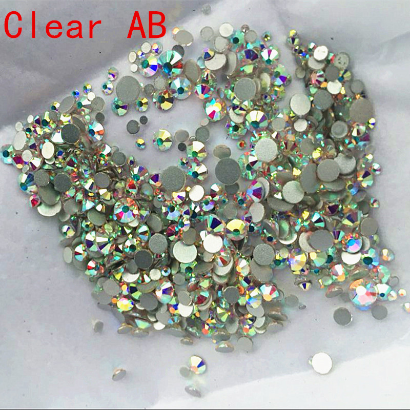 Mix Storlekar 1000PCS / Pack Crystal Clear AB Non Hotfix Flatback Rhinestones Nail Rhinestones För Nails 3D Nail Art Decoration Gems