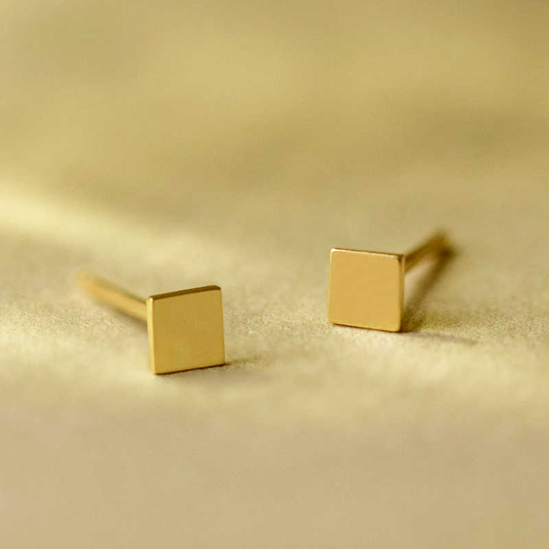 minimalist Simple Stainless Steel Small Stud Earrings for women Fashion Square Earrings for Girls Jewelry 2019 statement 3colors