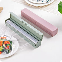 31.7*4.7*5cm Wrapping Paper Cutter 2019 PP Stainless Steel Plastic Wrap Dispenser Pink Blue Food Cling Film Cutter Kitchen Goods(China)
