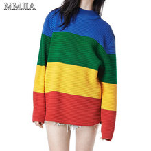 MuMuJia Oversize Casual Rainbow Sweater Women Knitted Pullovers 2018 Autumn Winter Harajuku Sweaters Mujer Jumpers Knitwear Tops