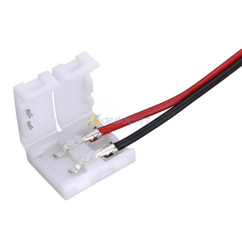 10pcs 8mm <font><b>2</b></font> <font><b>pin</b></font> Connector Adapter with Cable 2pin For 3528 Single Color <font><b>LED</b></font> <font><b>Strip</b></font> Connect to Power supply Free Shipping image