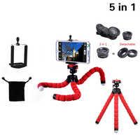 Multi-function 5in1 Phone Camera Lens Kit 3in1 Fish Eye Wide Angle Macro Lenses Mini Tripod For iPhone 4 5 5S SE 6 6S 7 8 X Plus