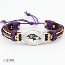10 PCS Baltimore Ravens Football Team Real Leather Bracelet Adjustable Mens  Real Leather Bracelet For Women Men Jewelry
