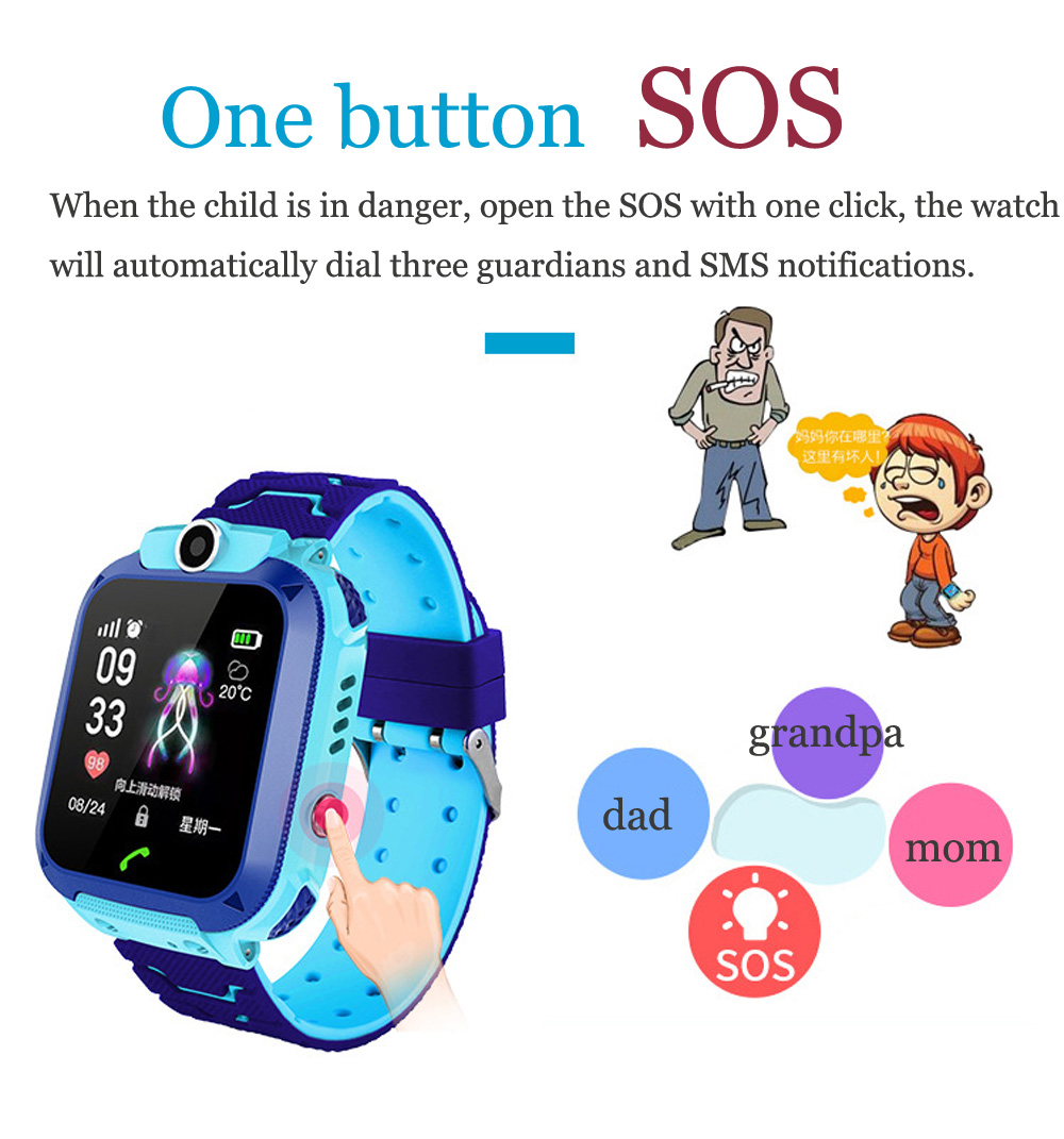 High Quality Newest Waterproof Tracker Smart Kids Child Watch Anti-lost SOS Call Smart Watch For iOS Android 17